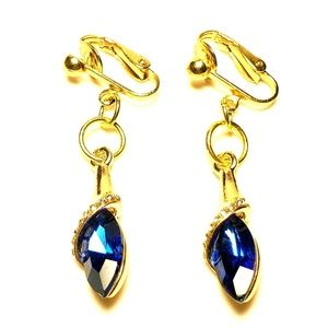 "1.5"" Gold Navy Blue Crystal Clipon Earrings"